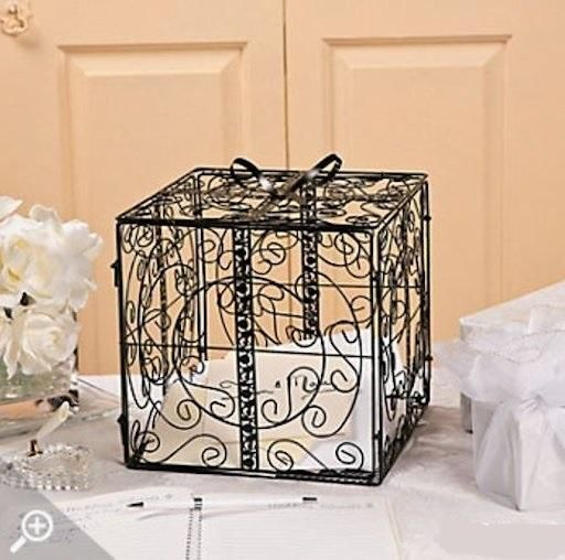 Metal Decorative Wedding Gift Card Holder Box : Black Metal Wedding Gift Box Card Holder Beautiful Wedding Reception ...