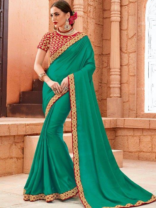 Green Crape Plain Party Wear Saree, green party saree, plain saree