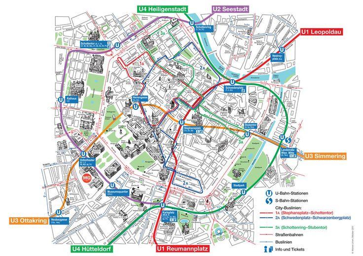 Carte touristique des musées, lieux touristiques, sites touristiques, attractions et monuments de Vienne