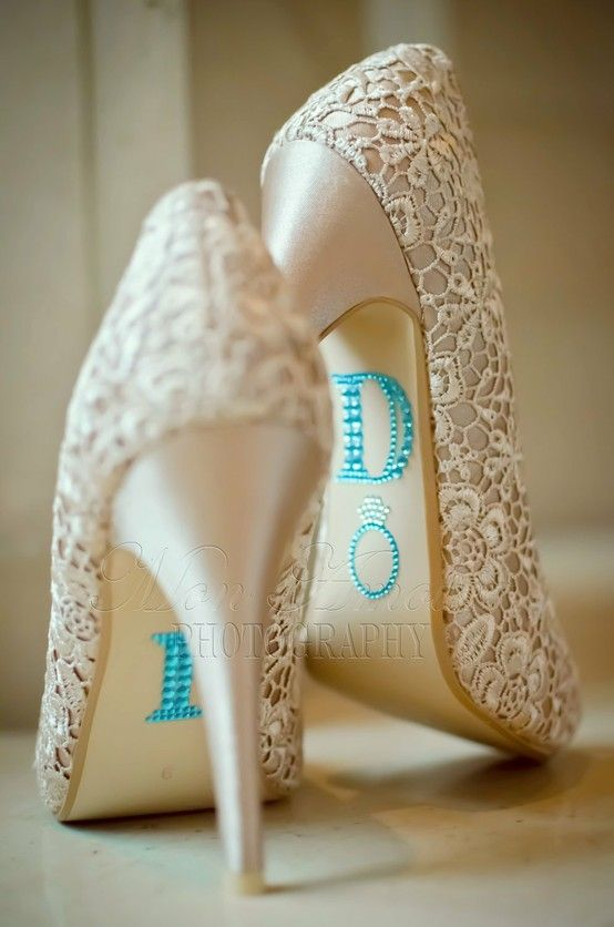 Lace shoes with something blue - Click image to find more Weddings Pinterest pins