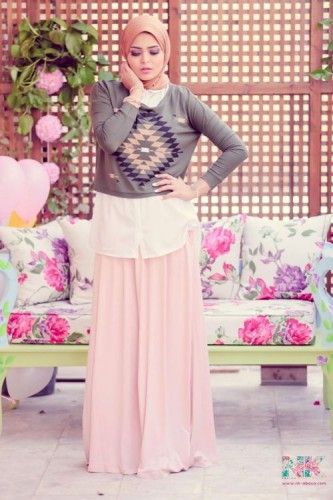 pastel maxi skirt hijab spring, Cute pastel hijab for spring http://www.justtrendygirls.com/cute-pastel-hijab-for-spring/