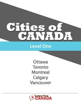 "This bundle is a set of five lesson plans on Canada's major cities – Toronto, Ottawa, Calgary, Vancouver, and Montreal. The text portions are generally told from a Canadian viewpoint, with a few ""we"" and ""our"" references but nothing that should detract too much in a non-Canadian classroom. Each lesson plan has: - a text about 300 words in length; - vocabulary words; - Fast Facts and; - 3 comprehension activities based on the reading text. - there is a fourth activity that involves mat"