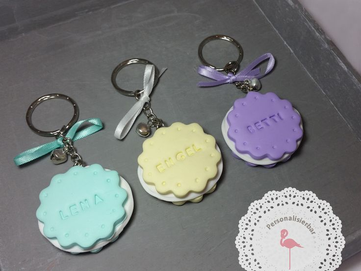 Schlüsselanhänger - Keksiger Schlüsselanhänger mit Cookie/Schleifchen - ein Designerstück von FlamingoBox bei DaWanda