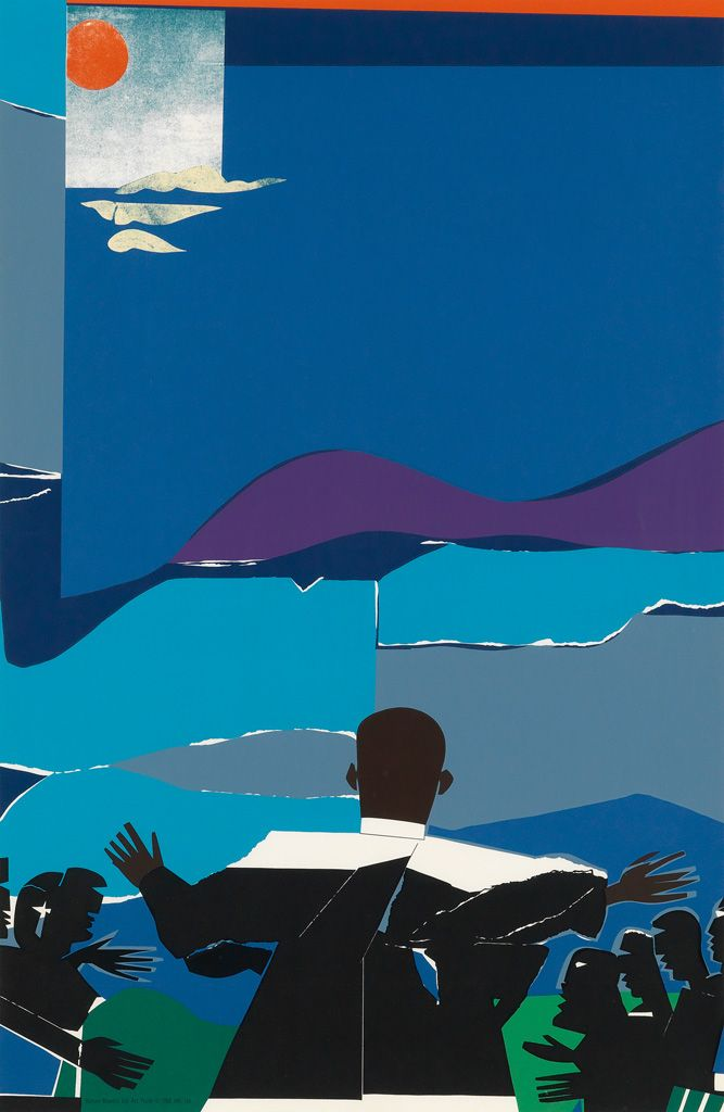 beenaround-ordinaryperson:  swanngalleries:  ROMARE BEARDEN Martin Luther King, Jr. - Mountaintop  1968.   RB (1911- 1988)