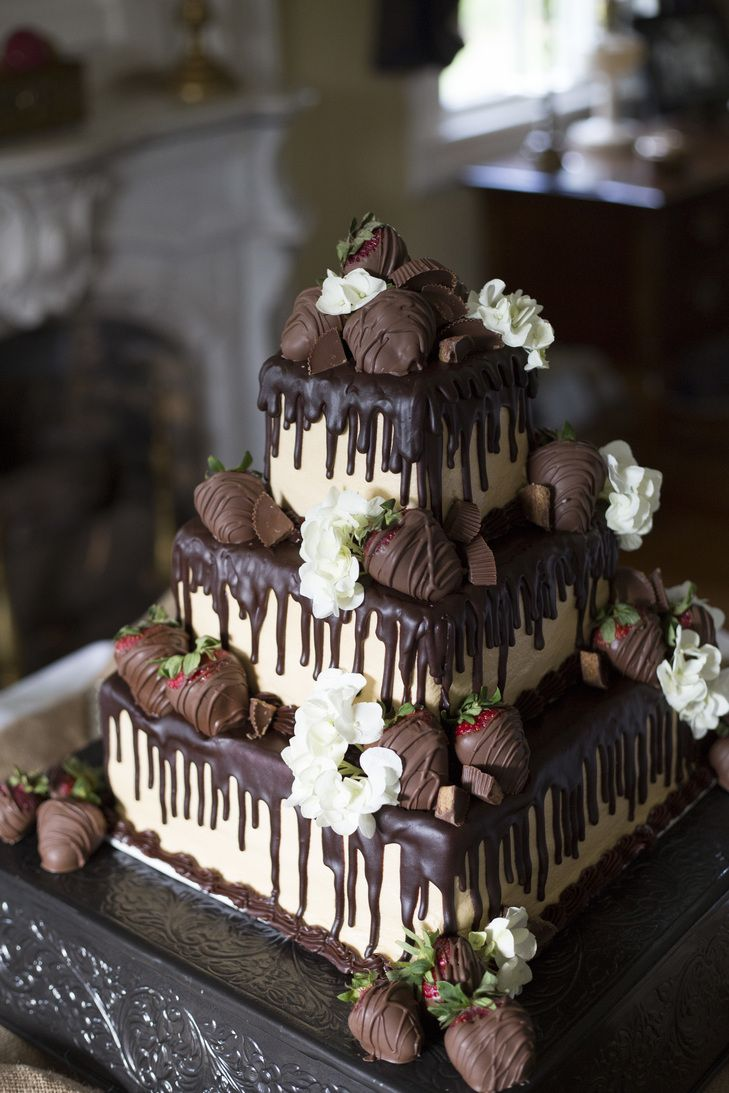 Tiered Chocolate Strawberry-Covered Groom's Cake