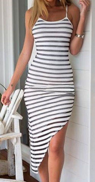 Love Stripes! Stylish Spaghetti Strap Striped Asymmetrical Women's Dress #Black #White #Stripes #Beach #Dress