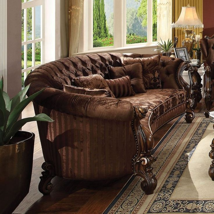 Best Versailles Crescent Sofa Brown Velvet Rustic Living 400 x 300