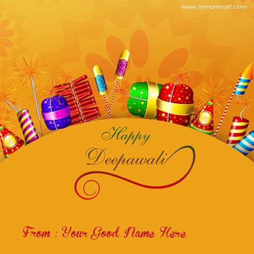 Celebrate Hindu Festival Diwali with Your Name Greeting cards. Free Print and write Name or Custom text on Diwali Fireworks and crackers Greeting card picture and set on Profile Picture or wish your Friend or Family.