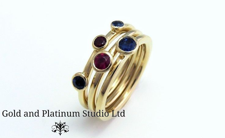 Beautiful Sapphire and Ruby 9ct gold stacking rings. We can make these with your choice of gemstones set into them. A really stunning and versatile addition to your jewellery box.