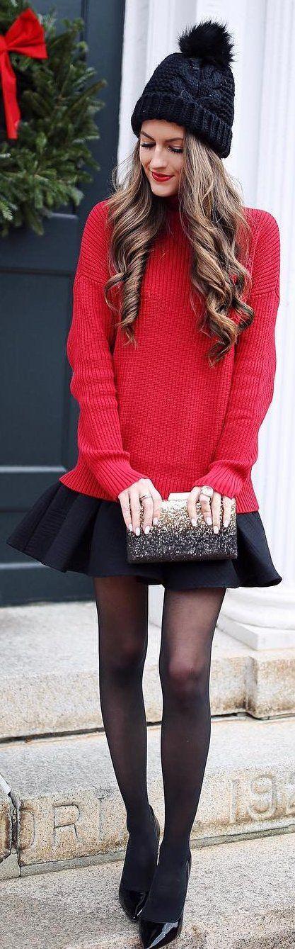 #winter #fashion /  Black Beanie / Red Knit / Black Skirt / Black Pumps