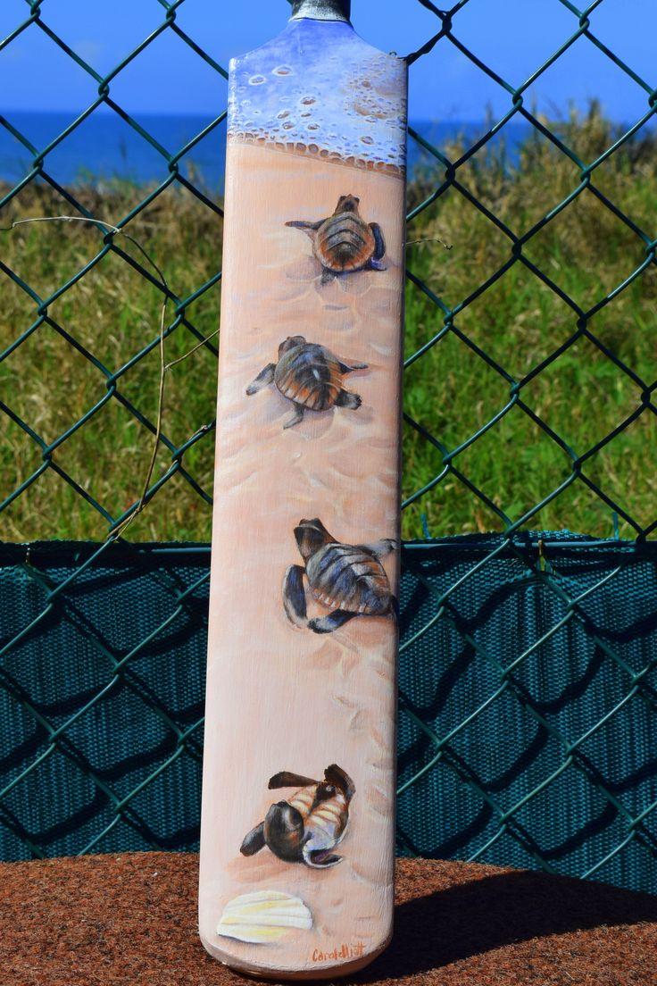 Bowled Over - painted cricket bat by Carole Elliott in support of autism. #art #cricket #charityauction #turtle #turtleart #originalart #Australianart #painting