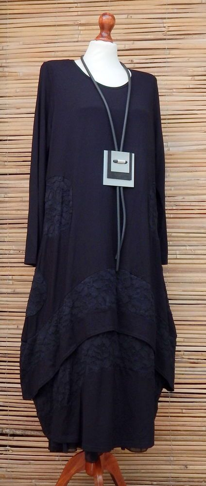 "LAGENLOOK STUNING QUIRKY BOHO LACE OVERSIZE LONG DRESS*BLACK*BUST UP TO 44""  #CoverUp #TunicDress #Casual"