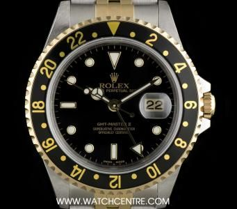 #Rolex Stainless Steel & 18k Yellow Gold Black Dial #GMT-Master II NOS B&P #16713