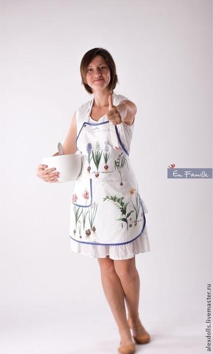 Фартук для хозяйки. - белый,синий,фартук,передник,кухонный фартук,кухонный передник