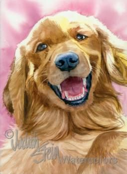 GOLDEN RETRIEVER Dog Pet Portrait Watercolor Art Print by k9stein, $22.50
