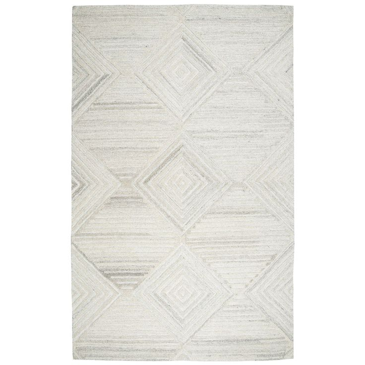 Rizzy Home Suffolk Ivory Wool Hand-tufted Geometric and Solid Rug (3' x 5') (SK333A Ivory 3' X 5' Tufted Geometric/Solid Rugs), Size 3' x 5'