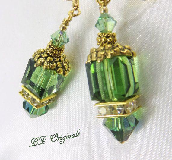 Green Irish and Gold Flower Swarovski Cube Earrings by BZOriginals