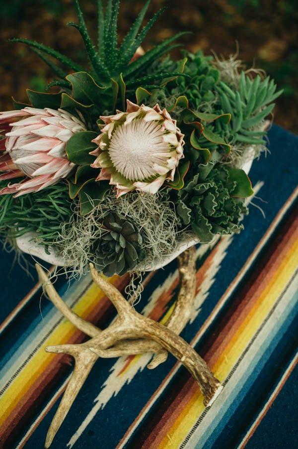 Bohemian Southwestern Wedding Centerpiece | April and Paul Photography