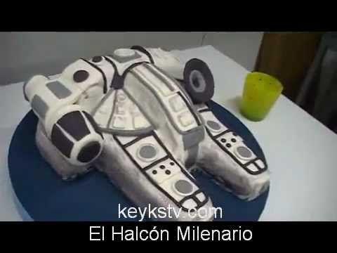Tarta de el Halcon Milenario, la nave de la guerra de las galaxias. Star wars falcon gunner