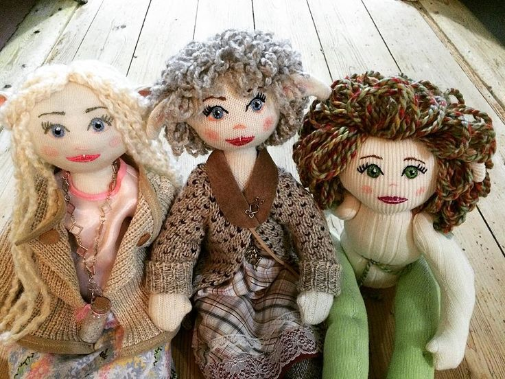 MaerieFaerie dolls made from recycled clothing and fabrics, vintage trims, and thrift store finds. Stuffing made from 100% recycled polyester.