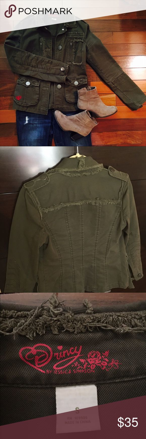 Quincy by Jessica Simpson green military jacket Super cute green military jacket by Jessica Simpson. This is a small and fits a little narrow in the shoulders. This is a thick quality fabric and will be a great addition to any wardrobe! The look is worn, but in like new condition. Jessica Simpson Jackets & Coats Jean Jackets