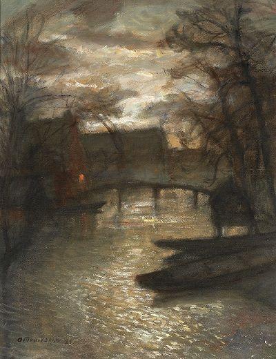 Otto Modersohn - Mondnacht an der Wümme