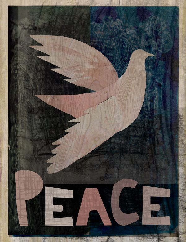 Peace Poster or Card, perfect for Christmas product or wall art. If you're interested in selling this print or licensing the design please contact lisa@lisabaudry.com