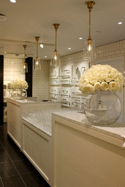 London showroom beautiful flower arrangements with white peonies