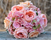 Coral rose, blush rose and pink hydrangea wedding bouquet made of silk roses.. $105.00, via Etsy.