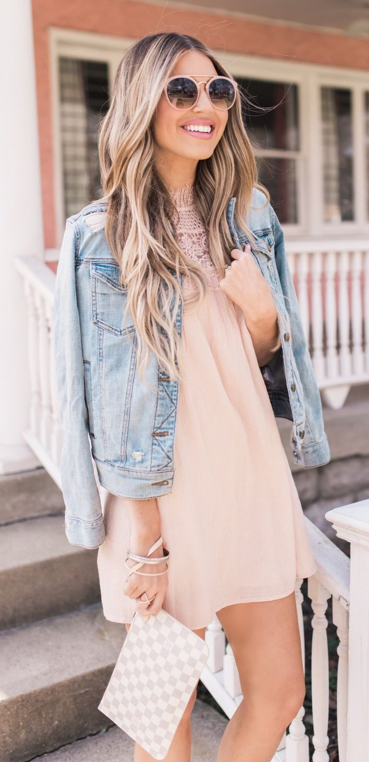#spring #outfits Blush Dress & Denim Jacket & Checked Clutch