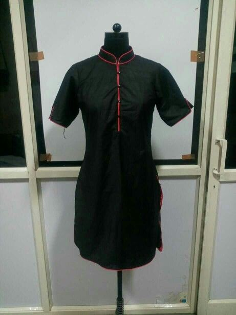 Elegant Black Poly Silk Kurti