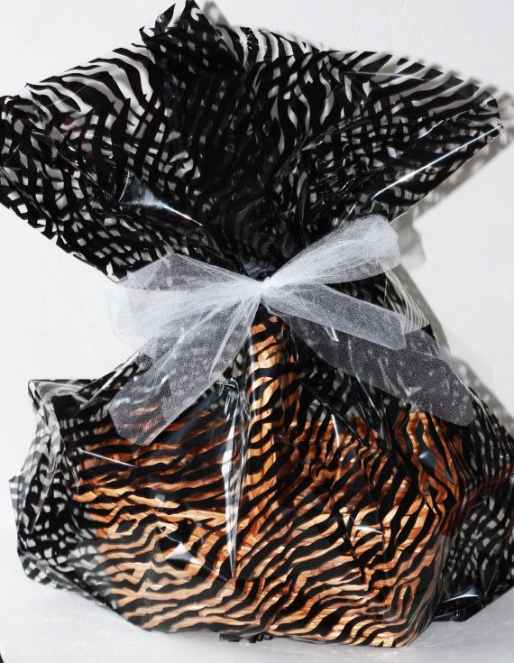 Zebra Dot Plastic Cellophane Basket Gift Wrap bag, Easter Gift Baskets, Cello Gift Basket Wrapping Bag Birthday Party Supplies