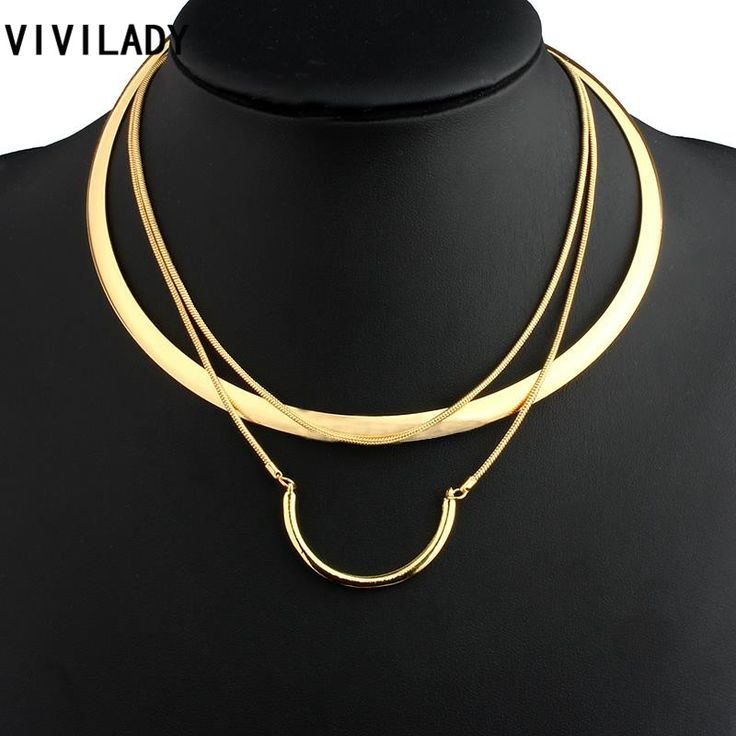VIVILADY Fashion Hot Gold Plated Metal Layer Chain Round Collar Necklaces Women OL African Jewelry Bohemian Style Costumes Gifts