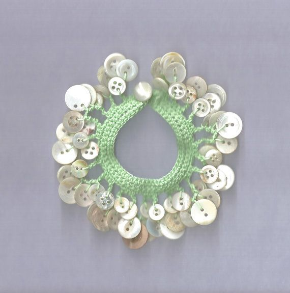 Crochet Mother of Pearl Button Charm Bracelet