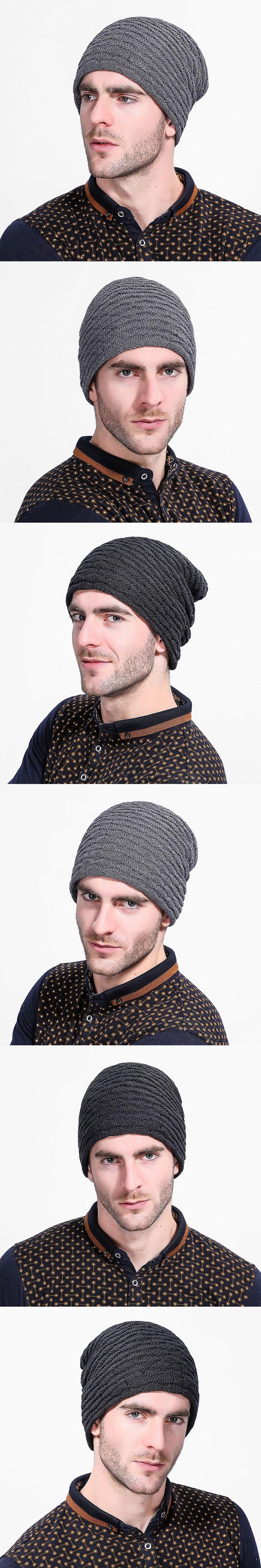 2018 Winter Beanies Men Scarf Knitted Hat Caps Mask Bonnet Warm Baggy Winter Hats For Men Beanies Hats M004