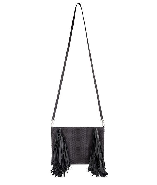 Nikki pouch with fringe with detachable strap