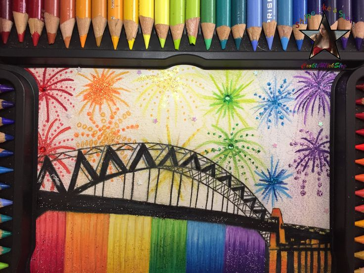 Happy New Year - Sydney Rainbow Fireworks Drawing #art #artsy #artist #artwork #creative #drawing #love #pinterest #artoftheday #glitter #sydney #sydneyfireworks #sydneyharbour #sydneyharbourbridge #harbourbridge #prisma #prismacolor #prismacolorpencils #sparkle