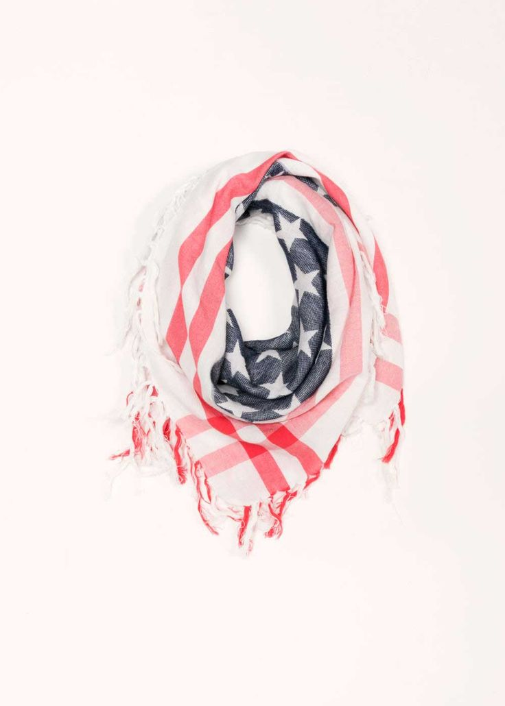 Look by M American Flag Scarf in Ivory MSF1649-IVORY