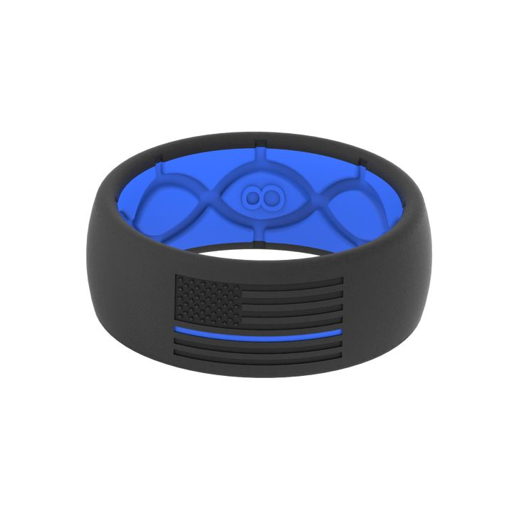 Mens Silicone Wedding Band >> Original Protector Police Blue   Thin blue line ring, Silver wedding bands, Police officer wedding