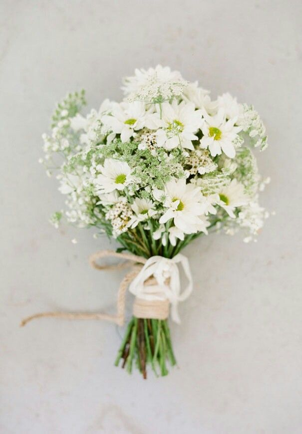 Sweet & Rustic Bouquet With Daisies, Small White Wax Flowers, Green Queen Anne's Lace, & White Gypsophila****