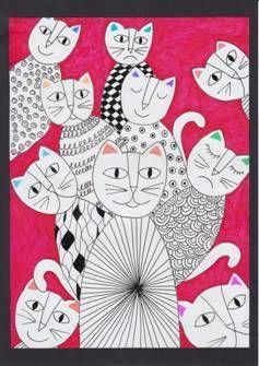 Abstraktní kočky na křídovém papíru: