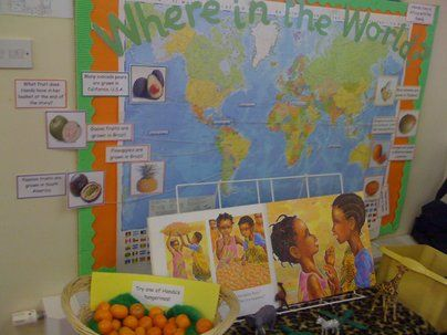 Where in the World Display, classroom display, class display, Story, Handa's surprise, world, book, fruit, Early Years (EYFS), KS1  KS2 Primary Resources