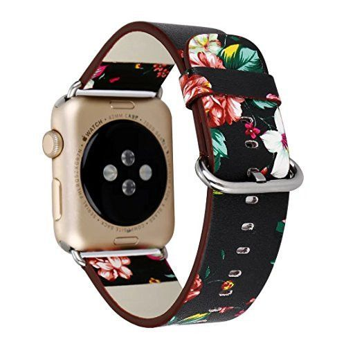 Apple Watch Band 38mm,38mm Soft PU Leather Pastoral/Rural Style Replacement Strap Wrist Band with Silver Metal Adapter for both Series 1 and Series 2