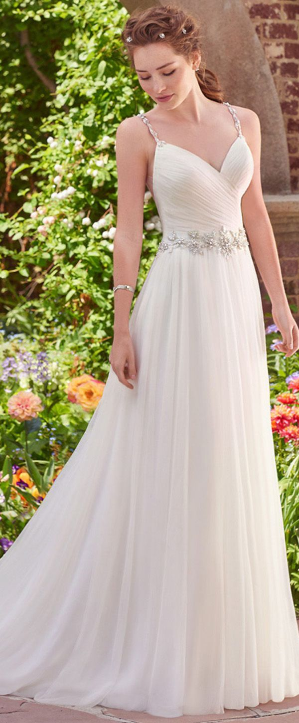Romantic Tulle & Satin V-Neck A-Line Wedding Dresses With Beadings & Rhinestones