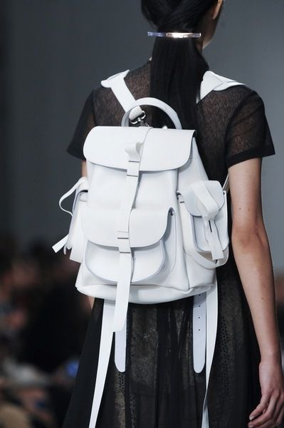 White Rucksack - chic leather backpack, runway accessories // Marios Schwab Spring 2014