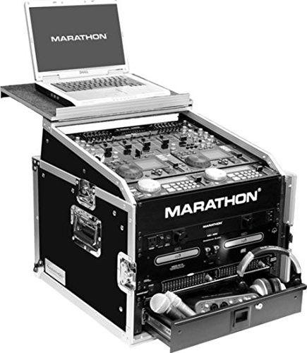 Marathon Ma-M6ultblk Flight Road Black Series CaseåÊ 10u Slant Mixer Rack - 6u Vertical Rack System with Laptop Shelf
