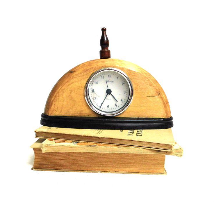 Vintage Wood Mantel Clock Fireplace Decor German Atlanta Battery Mechanical Table Shelf Clock Working Standing Display Clock Brown Black by WoodHistory on Etsy