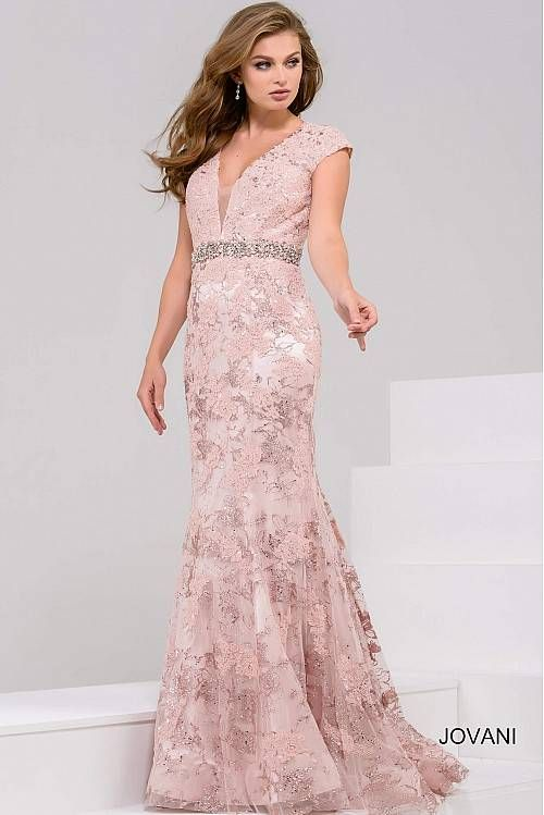 Blush Embroidered Fitted Evening Gown 34002