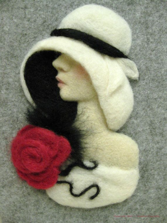 Fine Art Needled Felt Fiber Art Wall Hanging by PauletteCarmelita, $300.00