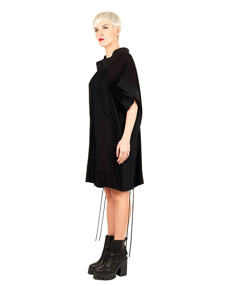 DI LIBORIO Liborio Red Label  black dress  cowl neck  short wide sleeves  laces hanging side plot honeycomb front  80% PL 20% CO